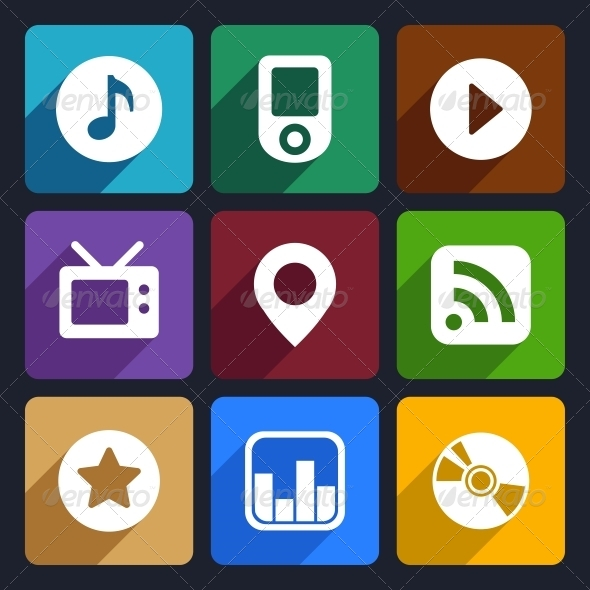 GraphicRiver Multimedia Flat Icons Set 1 6143939