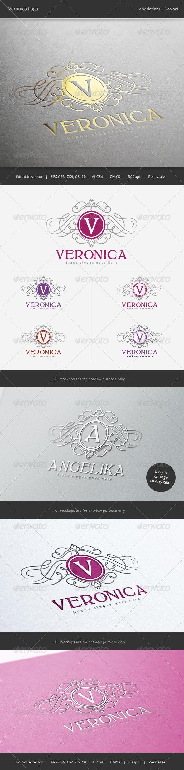 GraphicRiver Veronica V Letter Crest Logo 6144290