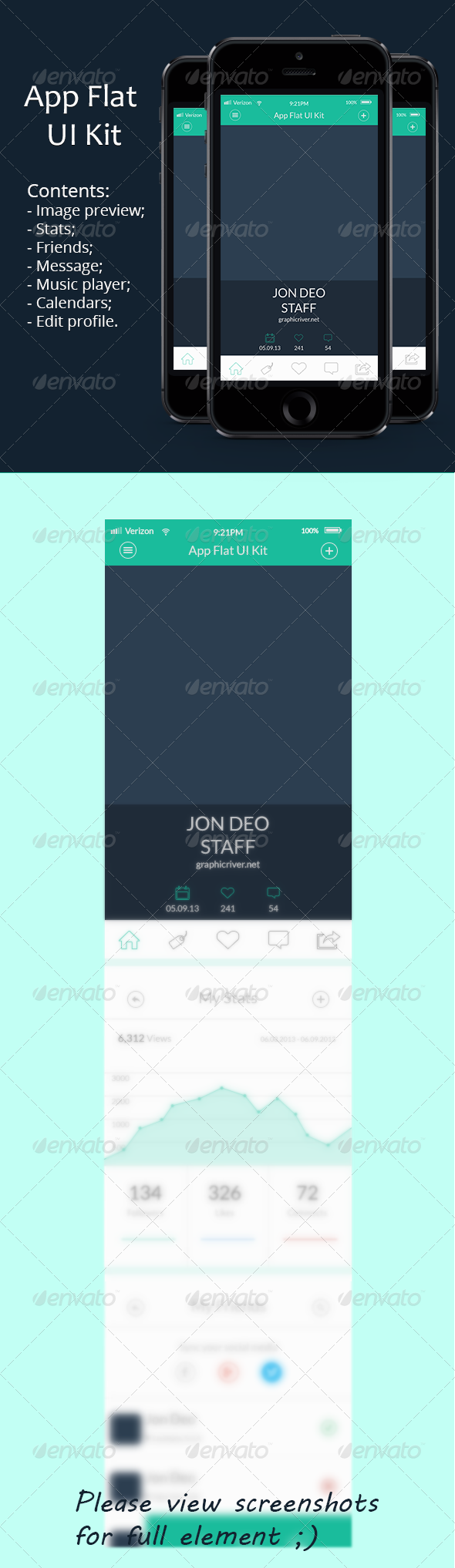 GraphicRiver App Flat UI Kit 6094575