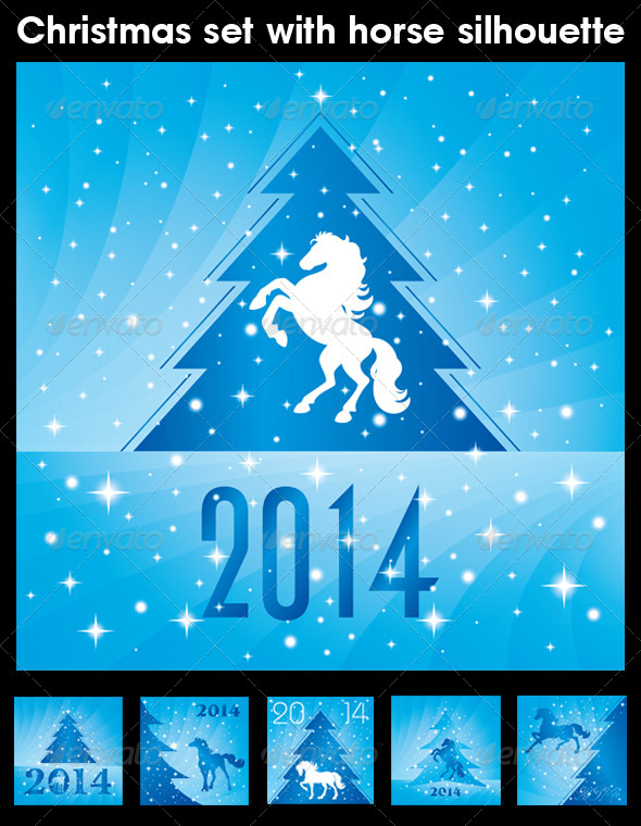 GraphicRiver Christmas Set with Horse Silhouette 6145648