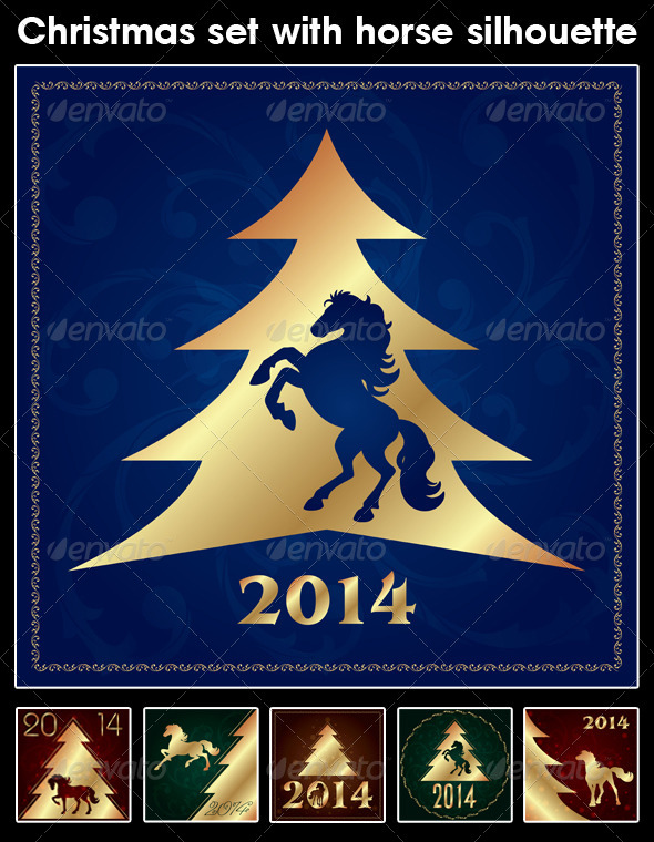 GraphicRiver Christmas Set with Horse Silhouette 6145885