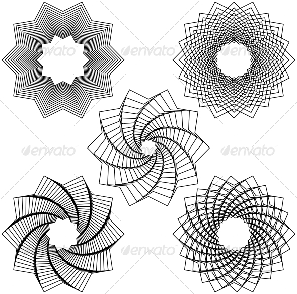 GraphicRiver Five Black Spirals 6147197