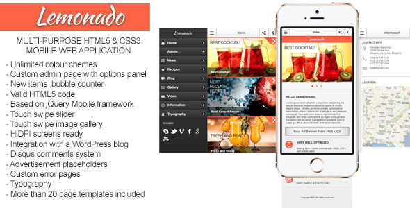 Lemonado - Multi-purpose Mobile Web Application - Mobile Site Templates
