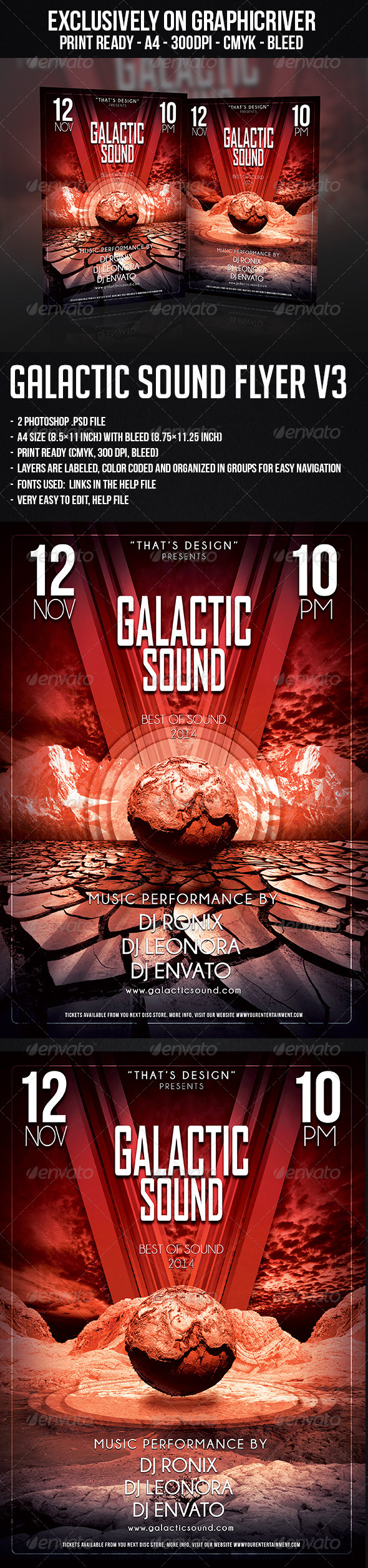 GraphicRiver Galactic Sound Flyer V3 6148414