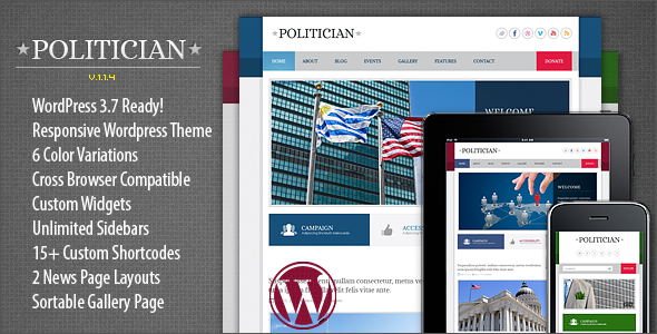 Politician Responsive WordPress Theme - Political Nonprofit