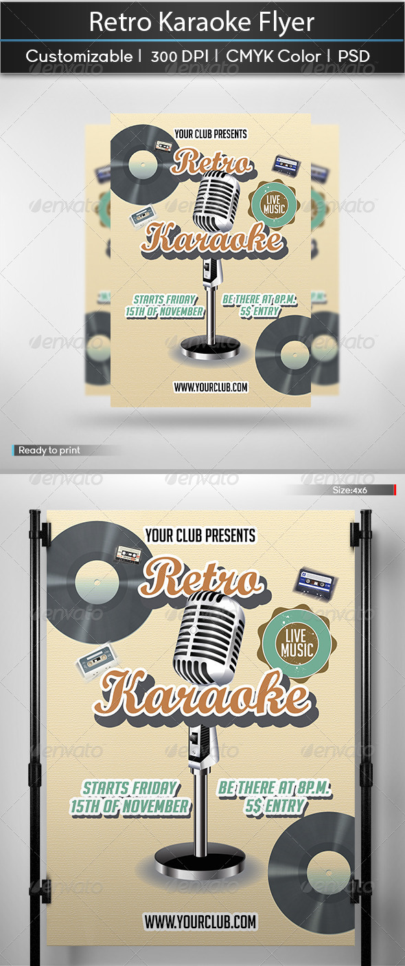 GraphicRiver Retro Karaoke Flyer 6148771