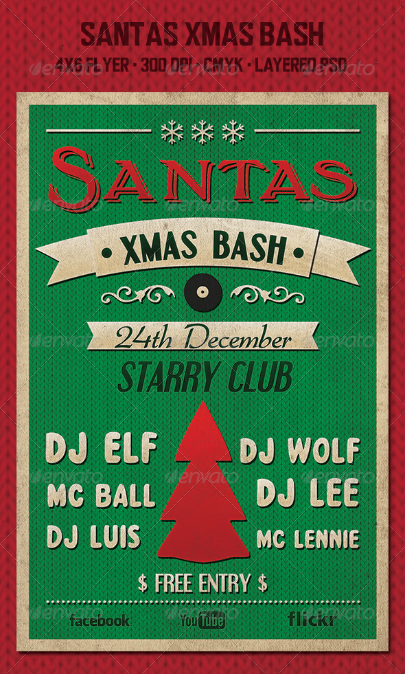 GraphicRiver Santas Xmas Bash Flyer 6087394