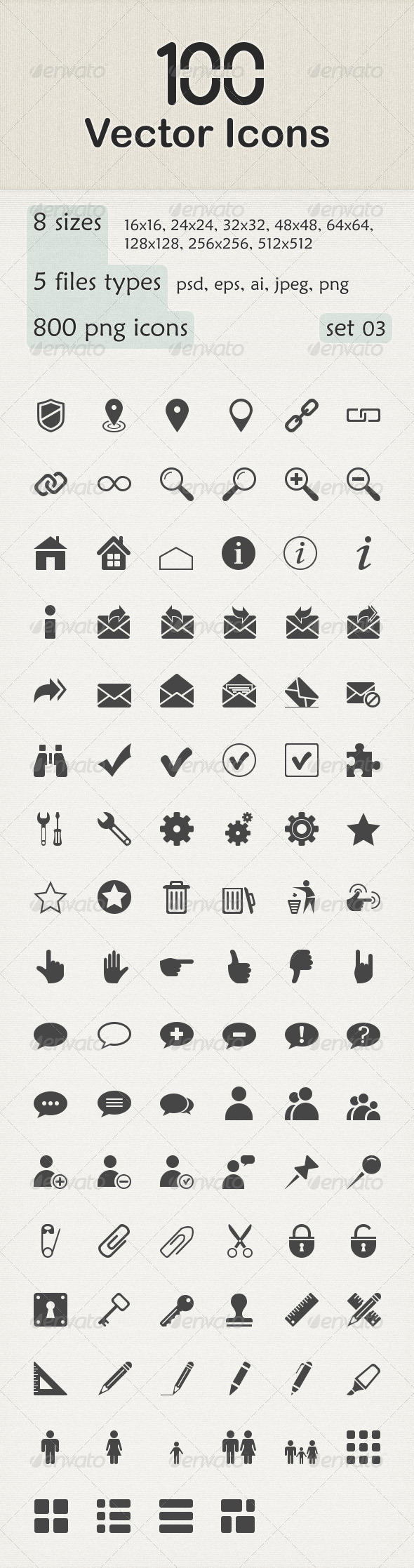 GraphicRiver 100 Vector Icons 6149440