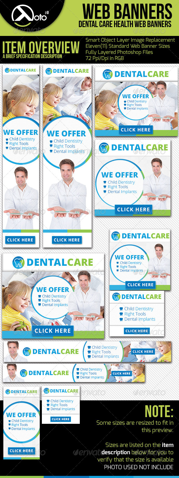 Medical Dental Health Web Banners - Banners & Ads Web Elements