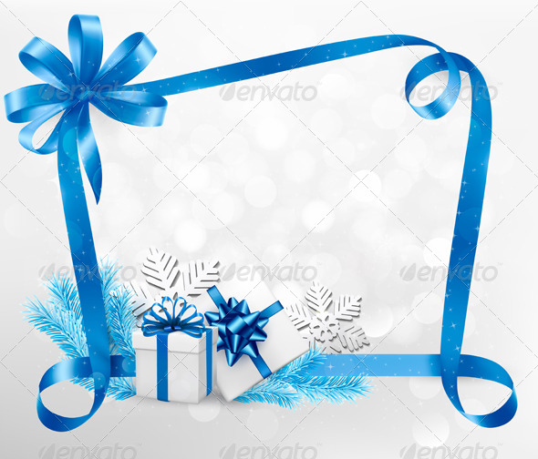 GraphicRiver Holiday Background with Blue Gift Bow and Gift Box 6150910