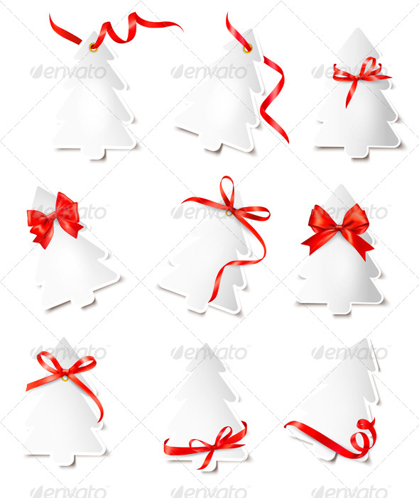 GraphicRiver Set of Gift Cards with Red Gift Bows Wit 6151044