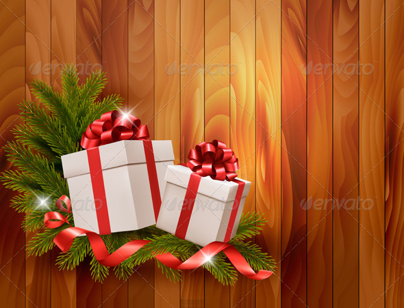GraphicRiver Holiday Background with Gift Ribbon with Gift Box 6151062