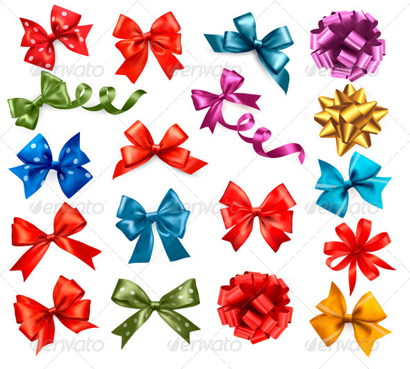 GraphicRiver Big Collection of Color Gift Bows with Ribbons 6151069