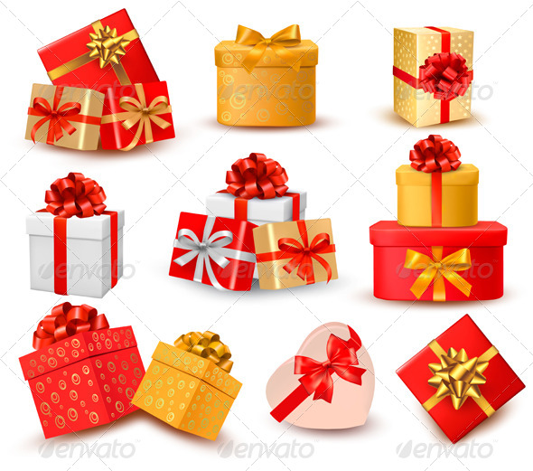 GraphicRiver Set of Colorful Gift Boxes with Bows and Ribbons 6151072