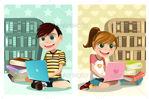GraphicRiver Kids Studying Using Laptop 6151086