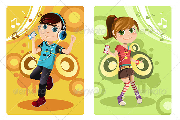 GraphicRiver Kids Listening to Music 6151089