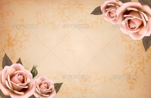 Pink Roses on a Vintage Old Paper Background