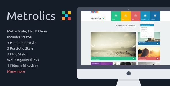 ThemeForest Metrolics Business Metro Sytle PSD Template 6152557
