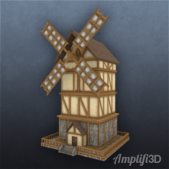 3DOcean Windmill with Hand-painted Texture Style 6153566