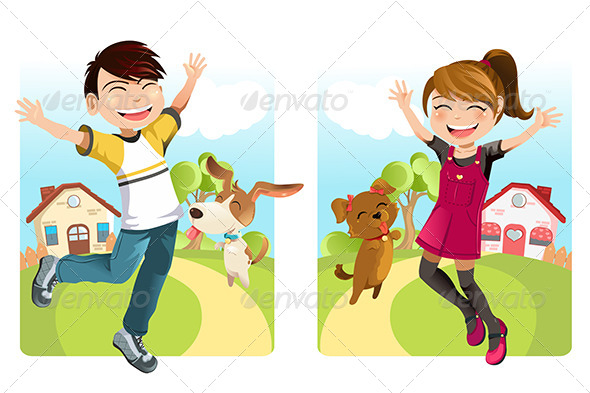 GraphicRiver Kids with Dog 6153588