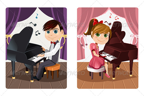 GraphicRiver Kids Playing Piano 6153736