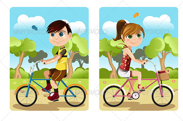 GraphicRiver Kids Riding Bicycle 6153743
