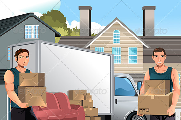 GraphicRiver Moving Men with Truck and Boxes 6153776