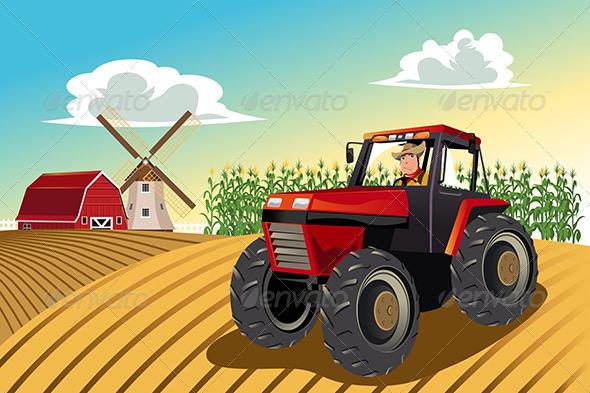 GraphicRiver Farmer Riding a Tractor 6154049