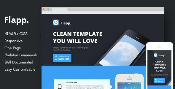 View live Demo for Flap - One Page Responsive Landing Page Template