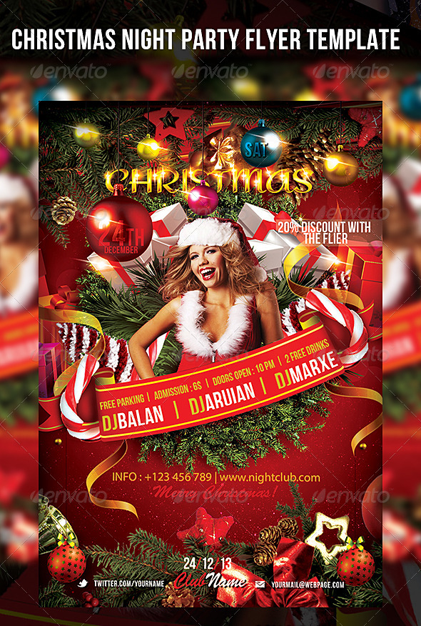 GraphicRiver Christmas Night Party Flyer Template 6155047