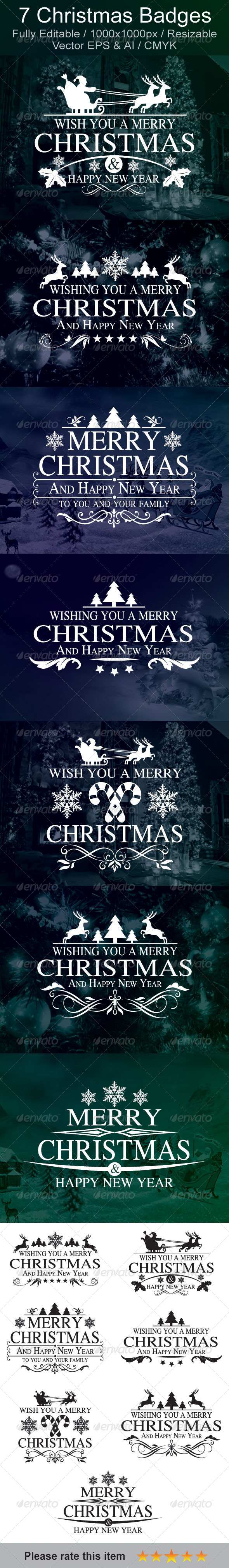 GraphicRiver Christmas & New Year Badges 6155066