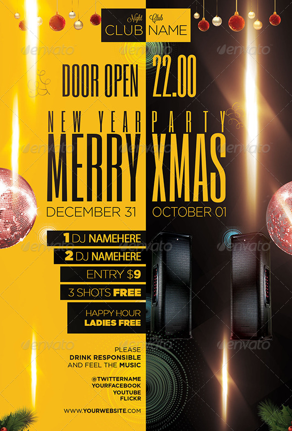 GraphicRiver Christmas Party Flyer Template PSD 6116871
