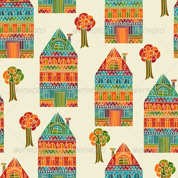 Stock vector graphicriver vector seamless pattern with for House pattern