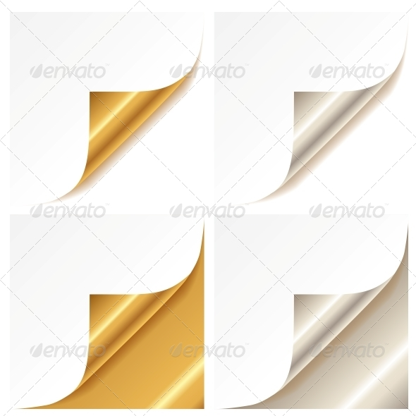GraphicRiver Curled Golden and Silver Page Corner 6155870