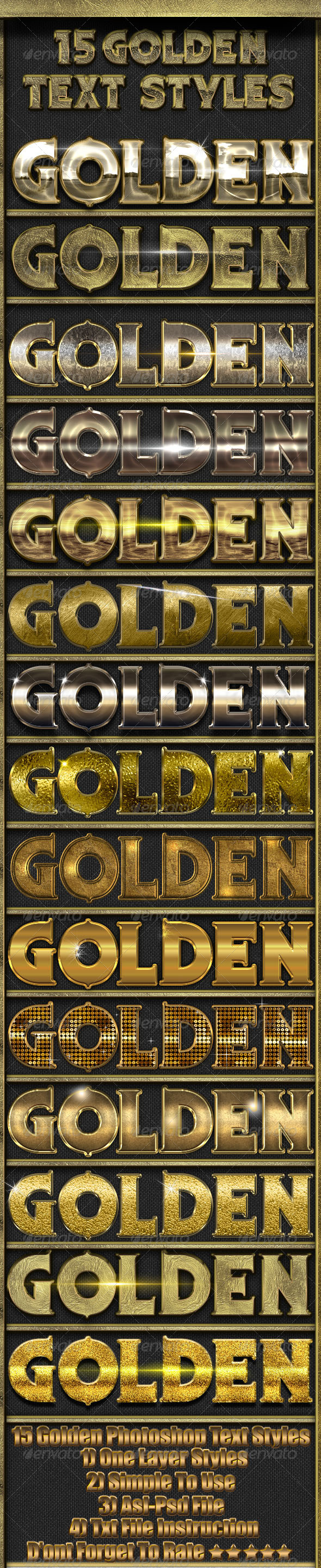 15 Golden Text Styles - Photoshop Add-ons