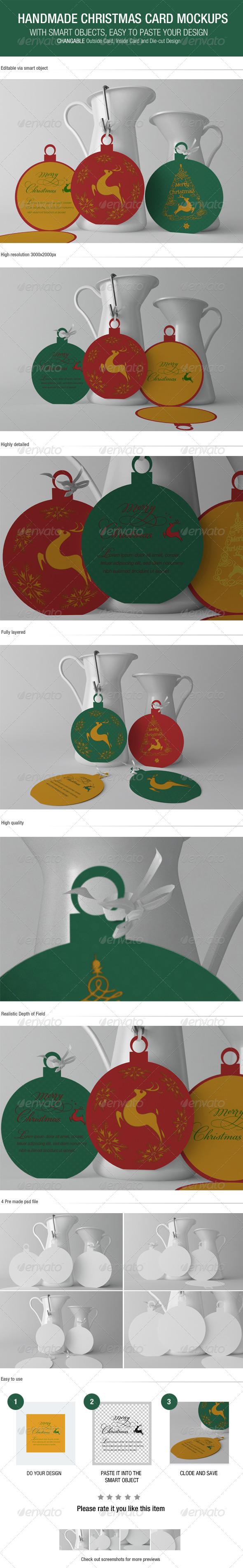 GraphicRiver Christmas Handmade Card Mockups 6156700