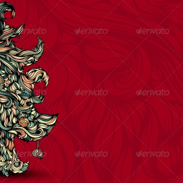 GraphicRiver Christmas Tree made of Hair 6157348