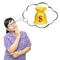 Asian senior woman thinking to money bag - PhotoDune Item for Sale