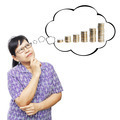 Asian senior woman thinking to money - PhotoDune Item for Sale