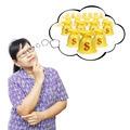 Asian senior woman thinking to money bags - PhotoDune Item for Sale