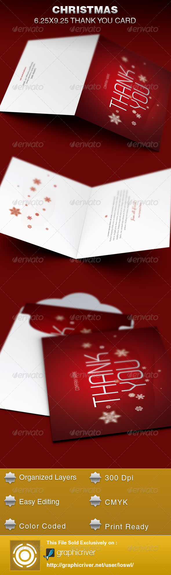 GraphicRiver Christmas Thank You Card Template 6157473