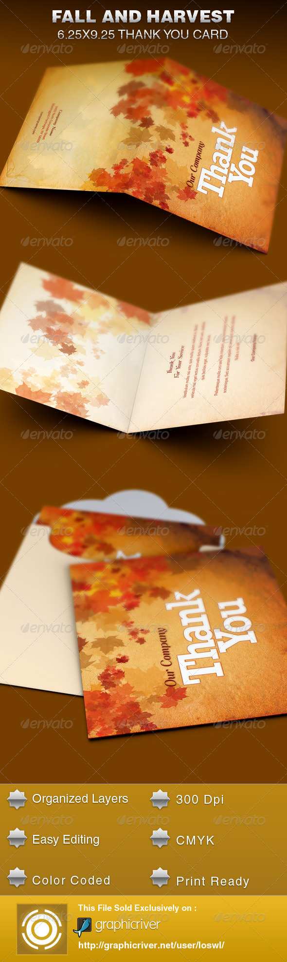 GraphicRiver Fall and Harvest Thank You Card Template 6158686