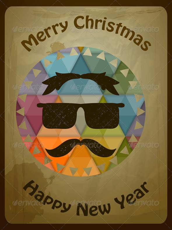 GraphicRiver Vector Hipster Christmas Greeting Card 6158836