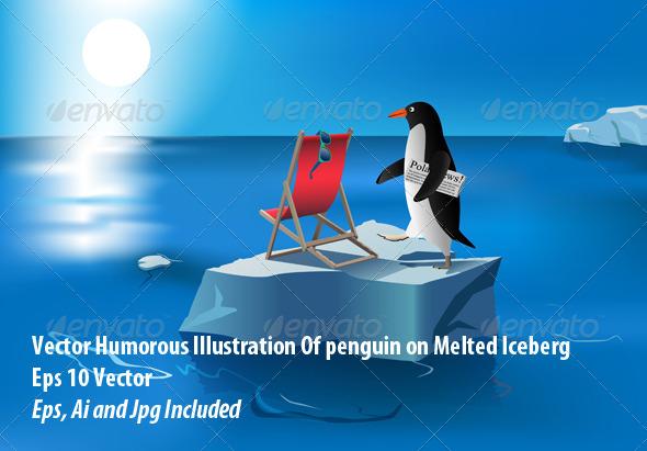 GraphicRiver Penguin Sunbathing 6158860