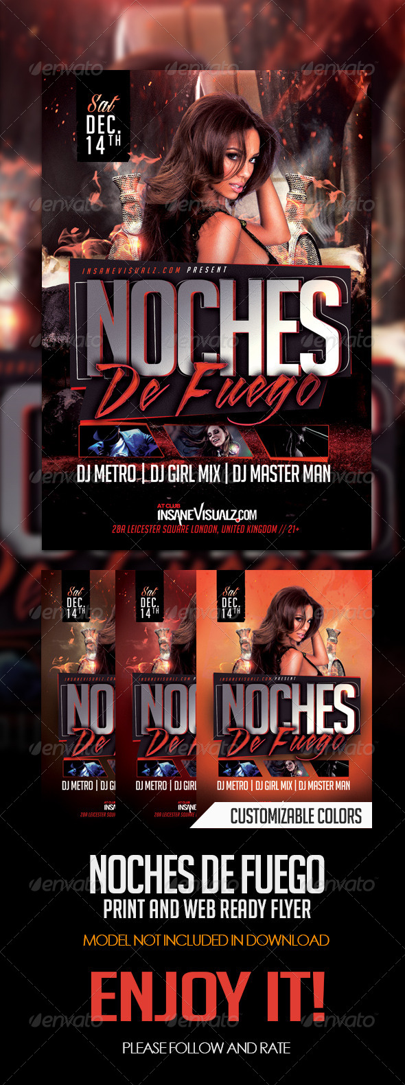 Noches De Fuego Latin Night Flyer