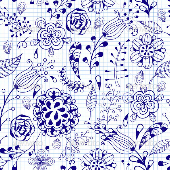 GraphicRiver Seamless Floral Summer Doodle Pattern 6159196