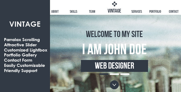 ThemeForest Vintage Multipurpose Parallax Muse Template 6147646