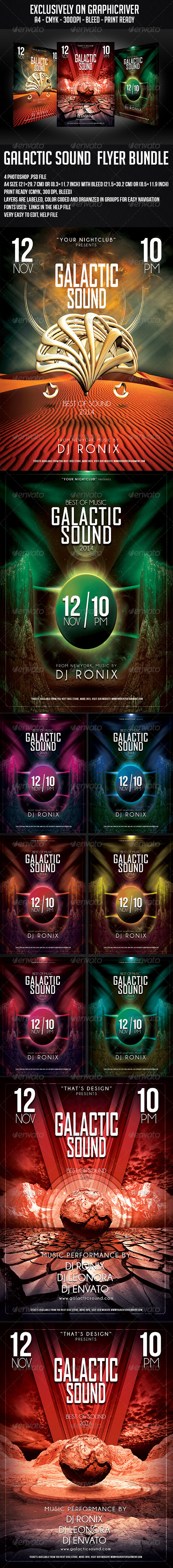 GraphicRiver Galactic Sound Flyer Bundle 6159474