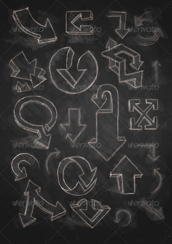 GraphicRiver Set of Hand Drawn Doodle Arrows on Blackboard 6160050