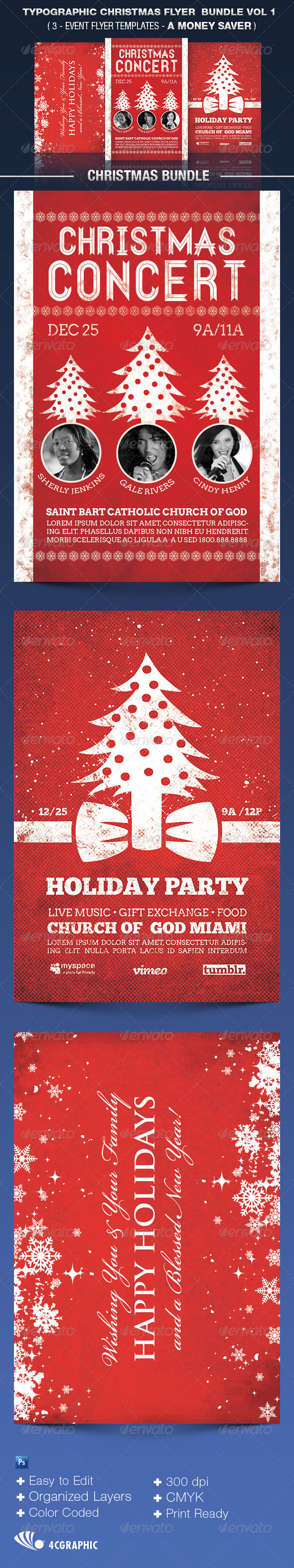 The Typographic Christmas Flyer Bundle Vol 1. - Events Flyers